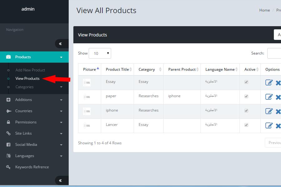 لوحة تحكم الموقع - عرض المنتجات