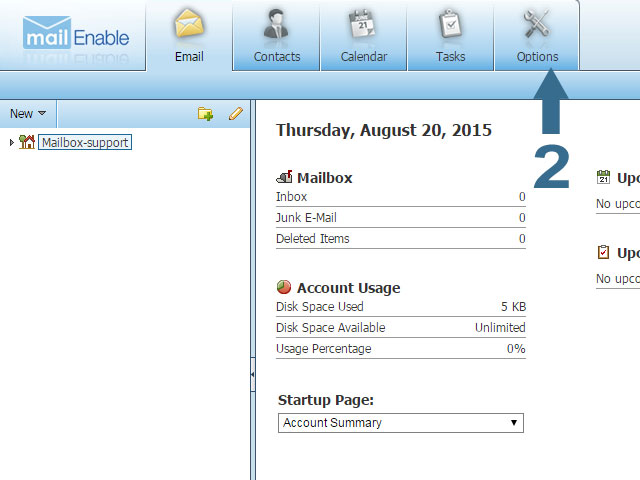Click Options at the top of Webmail - Mailenable