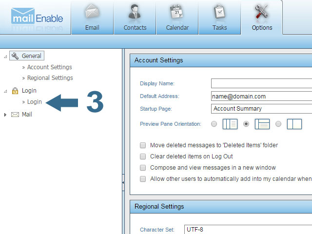 Expand login and click on login - Mailenable
