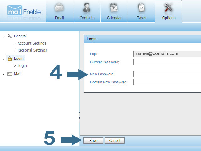 Now Change your Email Password in Webmail - Mailenable