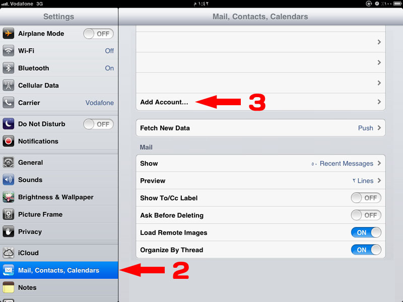 ipad email setting