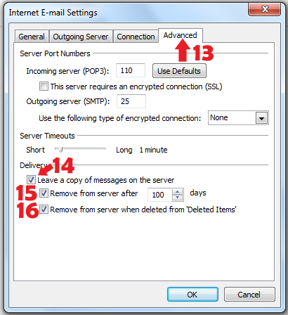 Outlook 2010 leave a copy of messages on the server